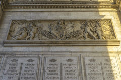 Architectural Detail of Arc de Triomphe Royalty Free Stock Photography