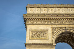 Architectural Detail of Arc de Triomphe Royalty Free Stock Photos