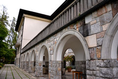 Architectural detail of the arches on the building located in Bled. Slovenia stock images