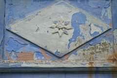 Architectural detail. On an old blue traditional house stock image
