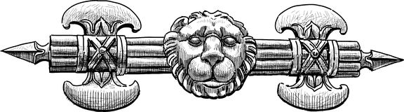 Architectural detail of axe and lion head. Vector drawing of the ancient architectural detail Royalty Free Stock Photos