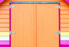 Architectural detail of beach hut. Architectural detail of Bathing house. View of colorful beach hut, summer vacation concept Royalty Free Stock Images