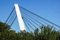 Architectural detail of the Bridge against blue skies.  royalty free stock photos