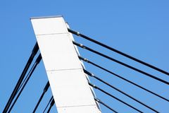 Architectural detail of the Bridge against blue skies.  stock photos