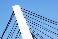 Architectural detail of the Bridge against blue skies.  royalty free stock photography