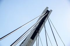 Architectural detail of the Bridge against blue skies.  stock photo