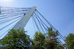 Architectural detail of the Bridge against blue skies.  royalty free stock images