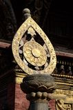 Architectural detail of buddhist monastery -  dharma wheel,Nepal Stock Photo