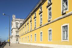 Lisbon Commerce Square. Architectural detail of the buildings at Commerce Square in Lisbon, Portugal Stock Photo