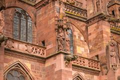 Architectural detail of the Cathedral of Our Lady of Freiburg Stock Photography