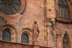 Architectural detail of the Cathedral of Our Lady of Freiburg Stock Photo