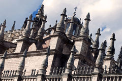 Architectural Detail of the Cathedral of Santa Mar. Ia next to the tower in the town girlda Spanish in Seville, is the largest Gothic cathedral Christian world's Royalty Free Stock Images