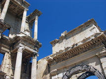 Architectural detail of Celsus library in Ephesus,Turkey. Closeup photo of architectural detail of Celsus library in ancient city Ephesus in Turkey with blue sky Royalty Free Stock Image