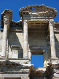 Architectural detail of Celsus library in Ephesus,Turkey. Closeup photo of architectural detail of Celsus library in ancient city Ephesus in Turkey with blue sky Royalty Free Stock Photography