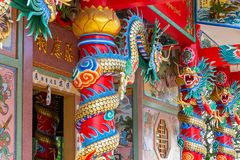 Architectural detail at the chinese temple in Mae Nam, Ko Samui, Thailand, Asia royalty free stock photos