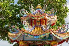 Architectural detail at the chinese temple in Mae Nam, Ko Samui, Thailand, Asia stock photography