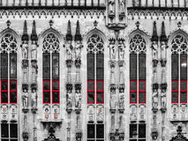 Architectural detail of City Hall in Bruges Stock Images
