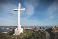 Architectural detail of the cross of Mont Saint Clair overlooking the town of Sete. Sete, France - January 4, 2019: Architectural detail of the cross of Mont royalty free stock photos