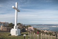 Architectural detail of the cross of Mont Saint Clair overlooking the town of Sete. Sete, France - January 4, 2019: Architectural detail of the cross of Mont stock photo