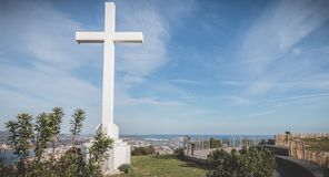 Architectural detail of the cross of Mont Saint Clair overlooking the town of Sete. Sete, France - January 4, 2019: Architectural detail of the cross of Mont stock images