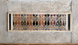 Architectural detail of a decorative mosaic colored panel Stock Image