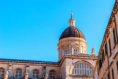 Architectural detail of dome of cathedral in old town Dubrovnik Royalty Free Stock Photography