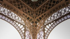 Architectural detail of the Eiffel Tower in Paris. France Royalty Free Stock Photos