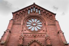 Architectural detail of the Evangelist Kirche Paul Church. Badenweiler, Germany - December 24, 2017 : architecture detail of the evangelist church kirche paul a Royalty Free Stock Image