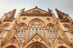 Architectural detail of the façade of Saint Etienne Temple in M. Ulhouse, France stock photography