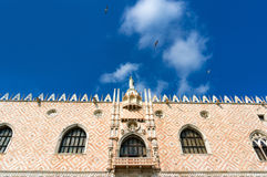 Architectural detail of facade of Doge Palace.  Venice, Italy Royalty Free Stock Image