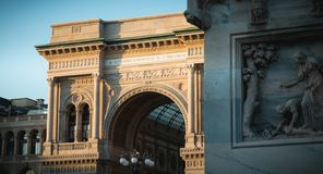 Architectural detail of the Galleria Vittorio Emanuele II royalty free stock images