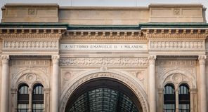 Architectural detail of Galleria Vittorio Emanuele II in Milan royalty free stock photos