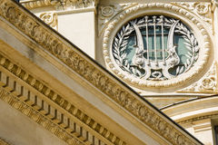 Architectural detail with harp and laurels Royalty Free Stock Photo