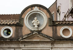 The architectural detail from the Honourable Courtyard in the Castle of Angel in Rome Stock Photography
