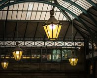 Lamps in South Hall Market, Covent Garden, London stock images