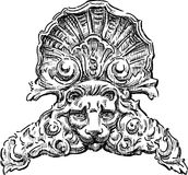 Architectural detail with a  lion head. Vector drawing of the baroque architectural detail in form of the cartouche with leon head Stock Image
