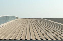 Architectural detail of metal roofing on commercial construction Stock Photos