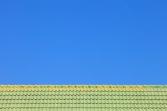 Architectural detail of metal roofing on commercial construction Stock Photo