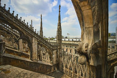 Architectural detail of Milan cathedral Stock Photos