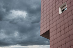 Architectural detail of a modern building. With dramatic sky Royalty Free Stock Images
