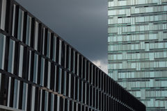 Architectural detail of modern buildings. Against a dark sky Royalty Free Stock Photography