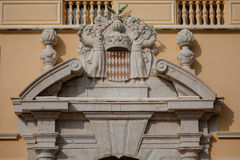 Architectural detail with Monaco coat of arms. Royal Arms of Prince Albert II, monarch and head of Princely House of Grimaldi, Monaco Stock Photo
