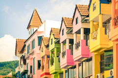 Architectural detail of multicolored vintage houses in Patong Royalty Free Stock Photography