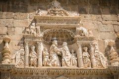 Architectural detail of the museum Santa Cruz de Toledo. Toledo, Spain - April 28, 2018: Architectural detail of the museum Santa Cruz de Toledo on a spring day stock image