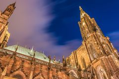 Architectural detail of Notre-Dame cathedral of Strasbourg royalty free stock photo