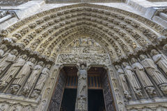 Architectural Detail of Notre-dame de paris entrance Stock Photography