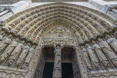 Architectural Detail of Notre-dame de paris entrance Stock Photography