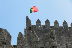 Free Architectural Detail Of The Guimaraes Castle That Tourists Visit Stock Photo - 166594980