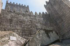 Free Architectural Detail Of The Guimaraes Castle That Tourists Visit Stock Image - 166595451