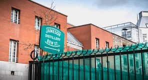 Architectural detail of the old distillery of irish whiskey Jameson in Dublin. Dublin, Ireland - February 11, 2019: architectural detail of the old distillery of royalty free stock photography